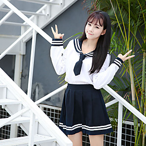 cheap Anime Costumes-Inspired by Cosplay Schoolgirls Anime Cosplay Costumes Japanese Cosplay Suits School Uniforms Skirts Top Bow For Women's / Bow Tie / Bow Tie