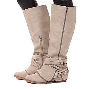 cheap Women's Boots-Women's Boots Low Heel Round Toe PU Mid-Calf Boots Fall & Winter Brown / Beige / Gray