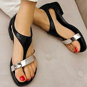 cheap Women's Sandals-Women's Sandals Flat Sandal Summer Flat Heel Round Toe Casual Minimalism Daily Color Block PU White / Black