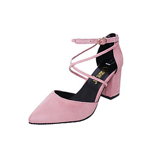 cheap Clutches & Evening Bags-Women's Heels Chunky Heel Pointed Toe PU Summer Black / Pink / Gray
