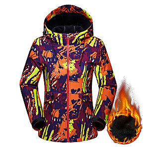 cheap Softshell, Fleece & Hiking Jackets-Women's Softshell Jacket Hiking Jacket Winter Outdoor Camo Thermal / Warm Windproof Breathable Rain Waterproof Jacket Hoodie Top Softshell Single Slider Camping / Hiking Hunting Ski / Snowboard