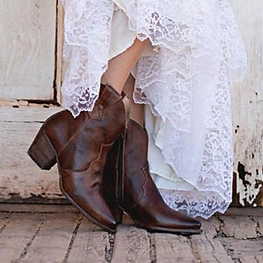 cheap Women's Boots-Women's Boots Chunky Heel Pointed Toe PU Mid-Calf Boots Fall & Winter Brown / Light Brown / Green
