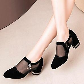 cheap Women's Sandals-Women's Sandals Mesh Chunky Heel Round Toe PU Summer Black