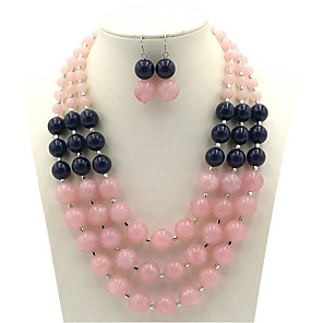cheap Pearl Necklaces-Women's Resin Bridal Jewelry Sets Vintage Style Star Vintage Imitation Pearl Earrings Jewelry Pink / Gray For Party Holiday 1 set