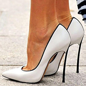 cheap Women's Heels-Women's Heels Stiletto Heel Pointed Toe Patent Leather Spring &  Fall White