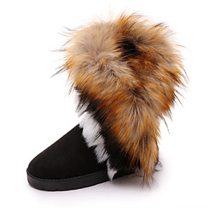 cheap Women's Boots-Women's Boots Snow Boots Flat Heel Round Toe Pom-pom Satin Booties / Ankle Boots Casual Walking Shoes Fall & Winter Black / Camel / Blue