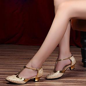 cheap Ballroom Shoes & Modern Dance Shoes-Women's Modern Shoes / Ballroom Shoes Cowhide Heel Thick Heel Customizable Dance Shoes Black / Silver Gray / Purple / Performance