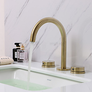 cheap Bathroom Sink Faucets-Bathroom Sink Faucet - Widespread Brushed Gold Widespread Two Handles Three HolesBath Taps