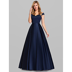 cheap Women's Heels-Ball Gown Elegant Blue Quinceanera Prom Dress Off Shoulder Short Sleeve Floor Length Satin with Pleats 2020