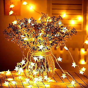 cheap LED String Lights-10M 80LEDs Star Fairy Garland String Lights Novelty For New Year Christmas Wedding Home Indoor Decoration Battery Powered