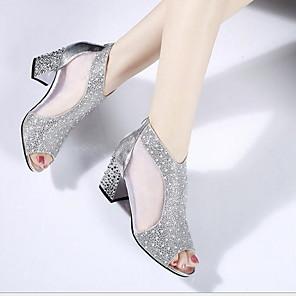 cheap Women's Sandals-Women's Sandals Glitter Crystal Sequined Jeweled Chunky Heel Peep Toe Linen Summer Gold / Silver