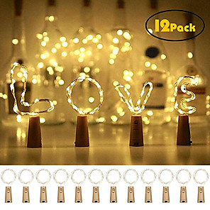 cheap LED String Lights-12pcs 20 LED Wine Bottle Lights Copper Wire Fairy String Light Warm White Bottle Stopper Atmosphere Lamp for Christmas Xmas Holiday Festival DIY Home Party Decoration Present Gift