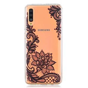cheap Samsung Case-Case For Samsung Galaxy A40(2019) / Galaxy A50(2019) / A70(2019) Pattern Back Cover Black Flower TPU for A10(2019) / A20(2019) / A30(2019) / A8(2018) / A7(2018) / A6(2018)