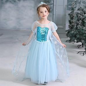 cheap Movie & TV Theme Costumes-Cinderella Princess Elsa Dress Flower Girl Dress Girls' Movie Cosplay A-Line Slip Halloween Christmas Blue Dress Halloween