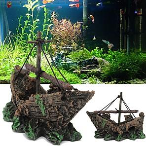 cheap Aquarium & Fish Accessories-Fish Tank Aquarium Decoration Background Ornament Ship Gray Mini Artificial Resin 13*10*5 cm