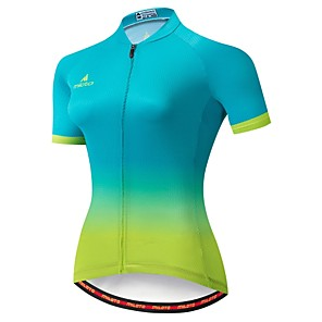 cheap Cycling Jersey & Shorts / Pants Sets-Miloto Women's Short Sleeve Cycling Jersey Winter Green / Yellow Gradient Bike Jersey Mountain Bike MTB Moisture Wicking Reflective Strips Back Pocket Sports Clothing Apparel / Stretchy