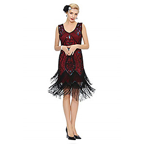 cheap Costumes Jewelry-The Great Gatsby Charleston Vintage 1920s Flapper Dress Party Costume Masquerade Women's Sequins Tassel Sequin Costume Black / Red / black / Black & White Vintage Cosplay Party Prom Sleeveless