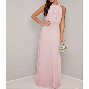 cheap Bridesmaid Dresses-A-Line Jewel Neck Floor Length Chiffon Bridesmaid Dress with Pleats