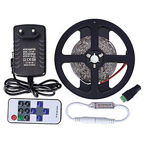 cheap LED String Lights-5m LED Strip Lights Flexible Tiktok Lights Remote Controls 300 LEDs SMD3528 1 11Keys Remote Controller / 1 x 12V 2A Adapter Warm White / White / Red Creative / Cuttable / Party 85-265 V 1 set