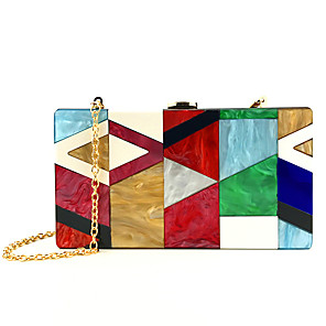 cheap Clutches & Evening Bags-Women's Acrylic Evening Bag Color Block Red / Gray