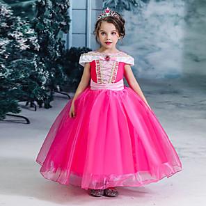 cheap Movie & TV Theme Costumes-Kids Girls' Active Sweet Solid Colored Short Sleeve Midi Dress Fuchsia