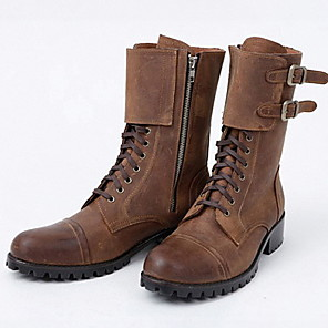 cheap Men's Boots-Men's Comfort Shoes PU Fall & Winter Boots Warm Mid-Calf Boots Brown