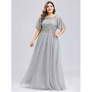 cheap Wedding Shoes-A-Line Plus Size Grey Party Wear Prom Dress Jewel Neck Short Sleeve Floor Length Tulle Sequined with Sequin Appliques 2020