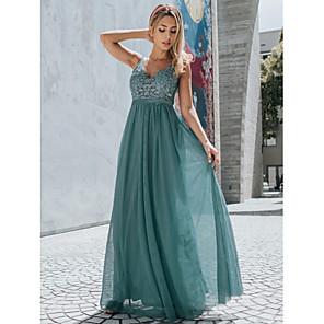 cheap Bridesmaid Dresses-A-Line Empire Blue Holiday Prom Dress V Neck Sleeveless Floor Length Chiffon Lace with Appliques 2020