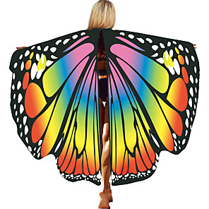 cheap Movie & TV Theme Costumes-Butterfly Wings Cloak Women's Movie Cosplay Halloween RedYellow / Purple / Yellow Cloak Halloween Polyester