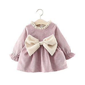 cheap Baby Girls'  Dresses-Baby Girls' Street chic Solid Colored Long Sleeve Dress Purple / Toddler
