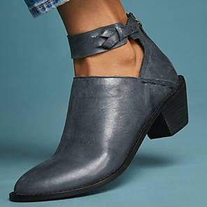 cheap Women's Boots-Women's Boots Low Heel Round Toe PU Booties / Ankle Boots Fall & Winter Black / Almond / Light Blue