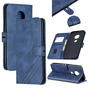 cheap Other Phone Case-Case For Motorola MOTO G6 / Moto G7 / Moto G7 Plus Wallet / Card Holder / with Stand Full Body Cases Solid Colored PU Leather