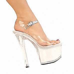 cheap Wedding Shoes-Women's Sandals Clear / Transparent / PVC Stiletto Heel Peep Toe PU British Summer Clear / Party & Evening / Party & Evening