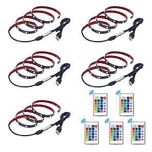 cheap LED Strip Lights-1m Flexible LED Strip Lights RGB Tiktok Lights Remote Controls 30 LEDs SMD5050 1 24Keys Remote Controller 5pcs Multi Color Creative USB Party 5 V