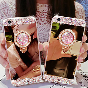 cheap iPhone Cases-Case For Apple iPhone 11 / iPhone 11 Pro / iPhone 11 Pro Max/7 8 plus/XS Max/6splus/6s Rhinestone / Ring Holder / Mirror Back Cover Solid Colored Acrylic