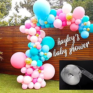 cheap Wedding Decorations-Ballons Accessories 5M Balloon Chain PVC Rubber Wedding Party Birthday Backdrop Decor Balloon Chain Arch Decor Happy Birthday Wedding & Event Decor