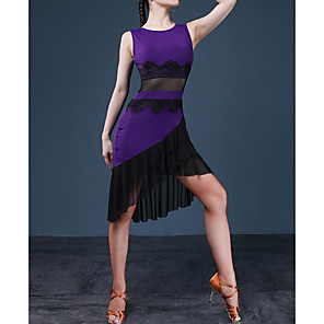 cheap Latin Dancewear-Latin Dance Dress Lace Cascading Ruffles Split Joint Women's Performance Jersey