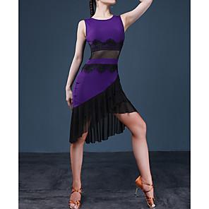 cheap Ballroom Dancewear-Latin Dance Dress Lace Cascading Ruffles Split Joint Women's Performance Jersey