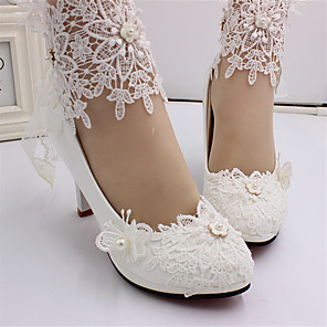 cheap Wedding Shoes-Women's Wedding Shoes Spring &  Fall Stiletto Heel Closed Toe Sweet Wedding Imitation Pearl / Stitching Lace Lace / PU White