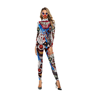cheap Men's & Women's Halloween Costumes-Burlesque Clown Cosplay Costume Adults' Women's One Piece Halloween Halloween Festival / Holiday Polyster White Women's Carnival Costumes / Leotard / Onesie