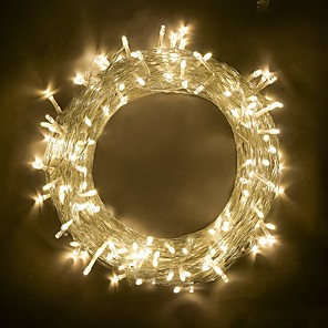 tanie Taśmy świetlne LED-Łańcuch świetlny 10 m 100 diod LED SMD 0603 ciepły biały rgb biały strona dekoracyjna z możliwością łączenia 220-240 V 110-120 V 1 szt. IP44