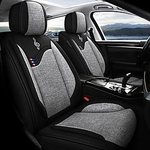 cheap Car Headrests&Waist Cushions-5Pcs / Set Five Car Seat Cushions Four Seasons Universal Linen Blended Car Seat Cover Car Seat Decoration Rear Front Auto Seat Cover Mat Automobiles Seat Covers Protector Compatible Airbag