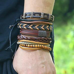 cheap Pendant Necklaces-6pcs Men's Bead Bracelet Wrap Bracelet Vintage Bracelet Layered Weave Vintage Punk Trendy Ethnic Fashion Genuine Leather Bracelet Jewelry Brown For Daily School Street / Earrings / Bracelet