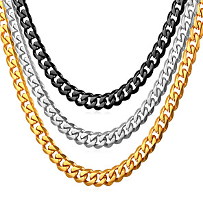 cheap Men's Chain Necklaces-Men's Chain Necklace Cuban Link Mariner Chain Fashion Hip Hop Stainless Steel Black Gold Silver 55 cm Necklace Jewelry 1pc For Gift Daily