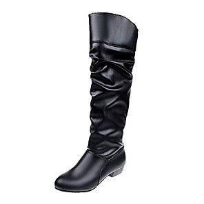 cheap Women's Boots-Women's Boots Knee High Boots Low Heel Round Toe Synthetics Knee High Boots Fall & Winter Black / White / Khaki