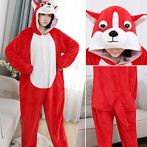 cheap Kigurumi Pajamas-Adults' Kigurumi Pajamas Dog Onesie Pajamas Flannelette Red Cosplay For Men and Women Animal Sleepwear Cartoon Festival / Holiday Costumes