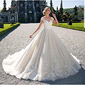 cheap Jewelry Sets-Ball Gown Wedding Dresses Jewel Neck Chapel Train Lace Tulle Lace Over Satin Cap Sleeve Glamorous Illusion Detail with Appliques 2020