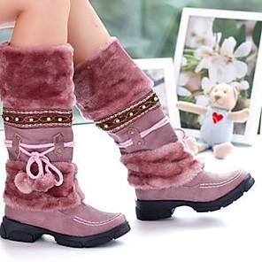 cheap Women's Boots-Women's Boots Flat Heel Round Toe Cotton Mid-Calf Boots Winter Purple / Brown / Black