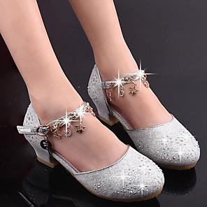 cheap Kids' Tiny Heels-Girls' Flower Girl Shoes Synthetics Heels Dress Shoes Little Kids(4-7ys) / Big Kids(7years +) Sparkling Glitter / Sequin / Tassel Pink / Gold / Silver Spring / Fall / Rubber