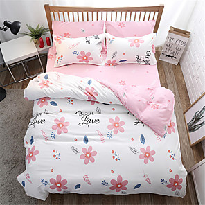 cheap Duvet Cover Sets-Duvet Cover Sets Floral / Contemporary Polyster Printed 4 PieceBedding Sets